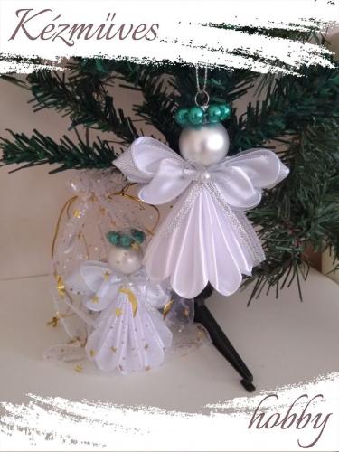 Quilling ajándék - Karácsonyfa dísz - Angyalka fehér ruhás - Karácsonyfa dísz