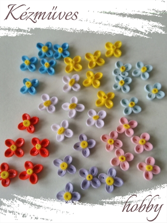 Quilling ajándék - Virágfejek - Sok színű - virágfejek