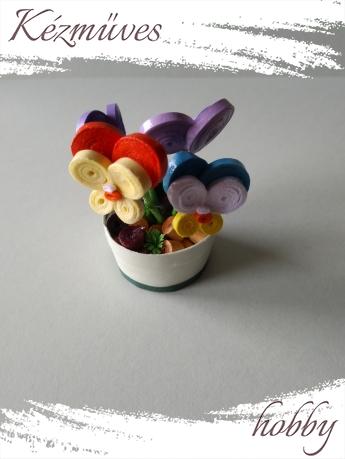 Quilling ajándék - Cserepes kisvirágok - Árvácska - Quilling Cserepes kisvirágok