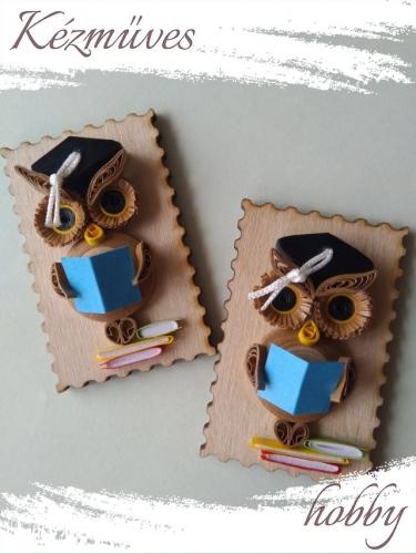 Quilling ajándék - Állatos - Hűttőmágnes - Ballagó Bagoly hűtőmágnes - Quilling hűtőmágnes
