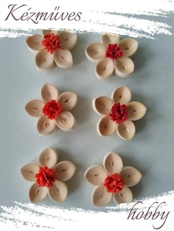 Quilling ajándék - Virágfejek - Barack-piros - virágfejek