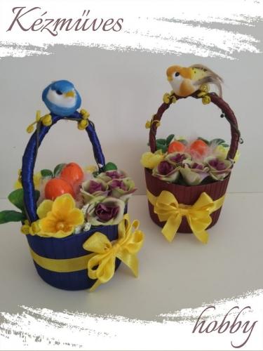 Quilling ajándék - Húsvét - Barna - kék kosár - Húsvét