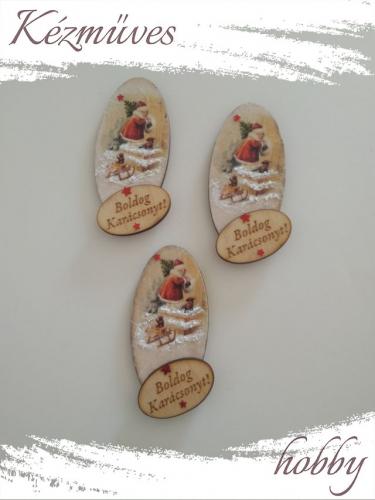 Quilling ajándék - Karácsony, Tél - Hűtőmágnes - Boldog Karácsonyt táblás felirattal - Karácsonyi hűtőmágnes