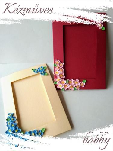 Quilling ajándék - Képeslap, fényképtartó - Díszített képtartó bordó-sárga - Quilling képeslap, fényképtartó