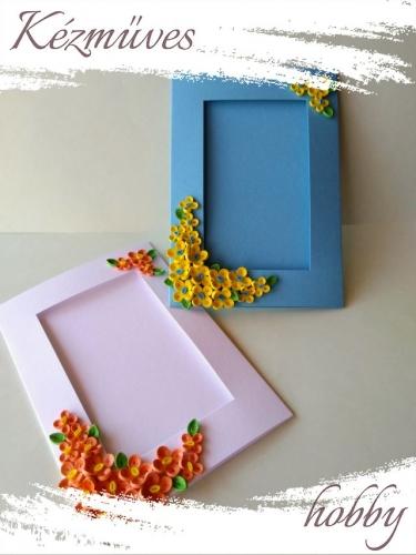Quilling ajándék - Képeslap, fényképtartó - Díszített képtartó kék-fehér - Quilling képeslap, fényképtartó