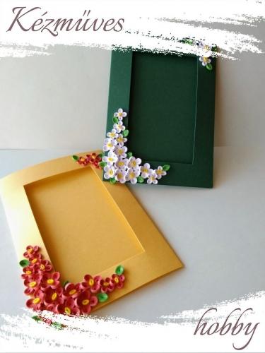 Quilling ajándék - Képeslap, fényképtartó - Díszített képtartó zöld-gyöngyházfényű sárga - Quilling képeslap, fényképtartó