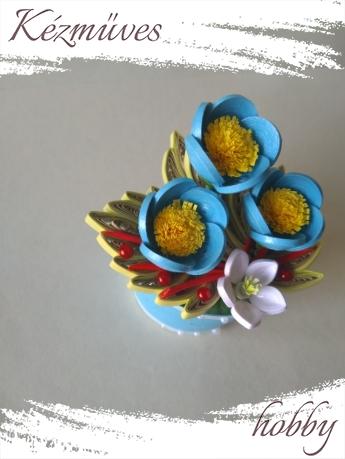 Quilling ajándék - Cserepes kisvirágok - Elegance - Quilling Cserepes kisvirágok