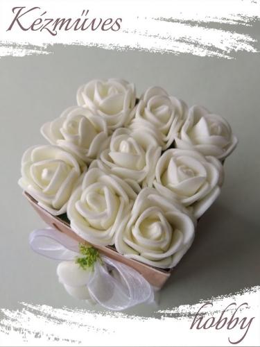Quilling ajándék - Virágdoboz - Fehér rózsadoboz - Virágdoboz