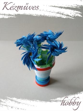 Quilling ajándék - Cserepes kisvirágok - Forgószél - Quilling Cserepes kisvirágok