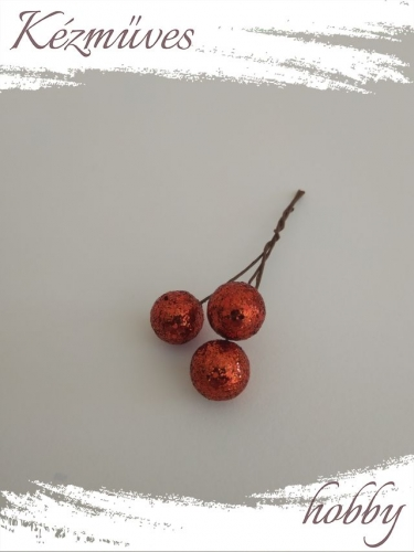 Quilling ajándék - Bogyók - Kellékek - Glitteres gömb - Karácsonyi kellékek