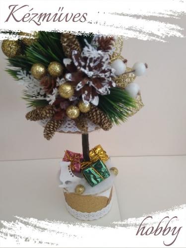 Quilling ajándék - Karácsonyi asztaldísz - Grincsfa arany - Karácsonyi asztaldísz