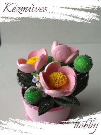 Quilling ajándék - Cserepes kisvirágok - Harmatcsepp - Quilling Cserepes kisvirágok