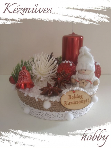 Quilling ajándék - Karácsonyi asztaldísz - Hópihe (piros) - Karácsonyi asztaldísz