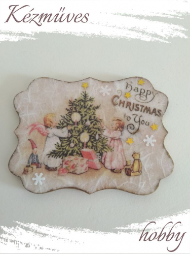 Quilling ajándék - Karácsony, Tél - Hűtőmágnes - Karácsonyi angyalkák - Karácsonyi hűtőmágnes