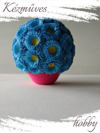 Quilling ajándék - Cserepes kisvirágok - Kék gömb - Quilling Cserepes kisvirágok
