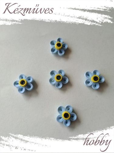 Quilling ajándék - Virágfejek - Kék nefelejcs - virágfejek