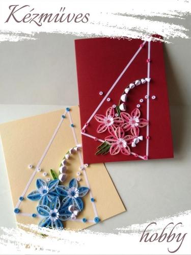 Quilling ajándék - Képeslap, fényképtartó - Képeslap bordó-sárga - Quilling képeslap, fényképtartó