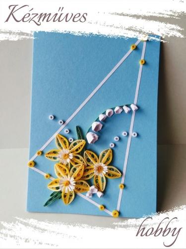 Quilling ajándék - Képeslap, fényképtartó - Képeslap kék-fehér - Quilling képeslap, fényképtartó