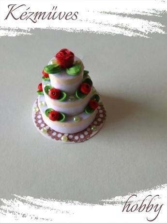 Quilling ajándék - Torták - Klasszikus emeletes torta