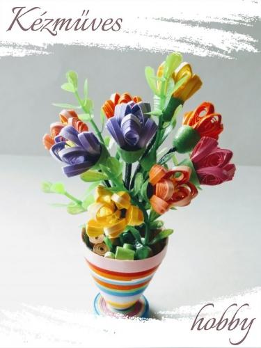 Quilling ajándék - Cserepes kisvirágok - Krókusz csokor - Quilling Cserepes kisvirágok