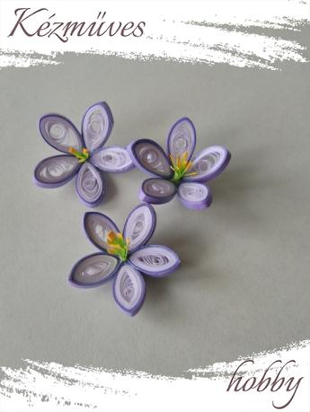 Quilling ajándék - Virágfejek - Lila-fehér - virágfejek