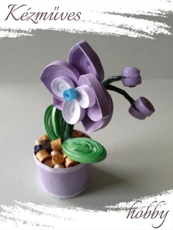 Quilling ajándék - Cserepes kisvirágok - Lila orchidea - Quilling Cserepes kisvirágok
