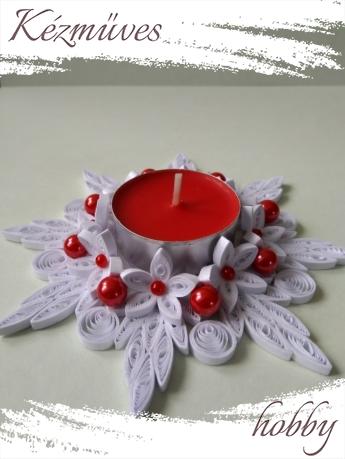 Quilling ajándék - Karácsonyi asztaldísz - Mécsestartó - Karácsonyi asztaldísz