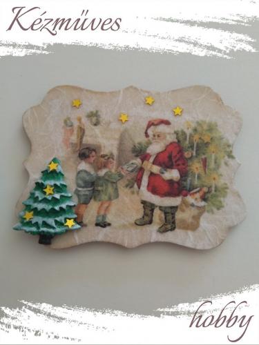 Quilling ajándék - Karácsony, Tél - Hűtőmágnes - Megérkezett a Télapó 2. - Karácsonyi hűtőmágnes