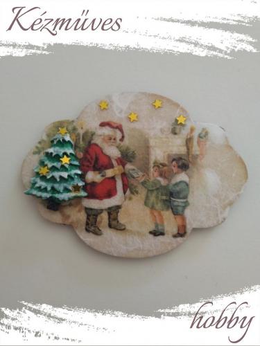 Quilling ajándék - Karácsony, Tél - Hűtőmágnes - Megkérkezett a Télapó - Karácsonyi hűtőmágnes