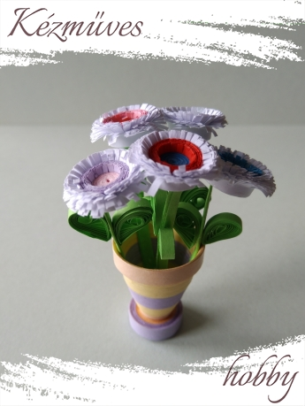 Quilling ajándék - Cserepes kisvirágok - Mini csokor - Quilling Cserepes kisvirágok