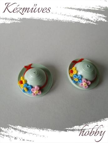 Quilling ajándék - Vicces - Hűtőmágnes - Mini kalapok hűtőmágnes - Quilling hűtőmágnes