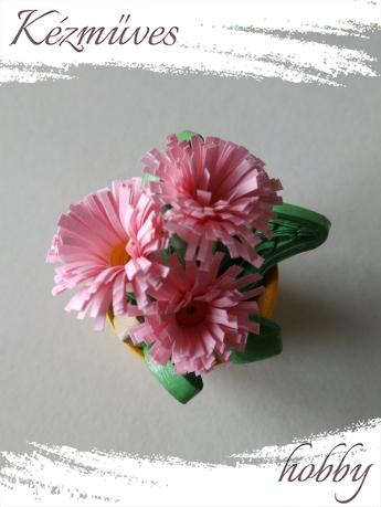 Quilling ajándék - Cserepes kisvirágok - Minik minije - Quilling Cserepes kisvirágok