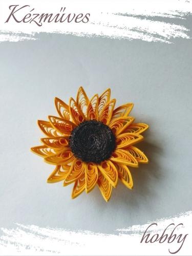 Quilling ajándék - Virágfejek - Napraforgó fej