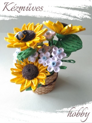 Quilling ajándék - Cserepes kisvirágok - Napraforgó kosárban - Quilling Cserepes kisvirágok