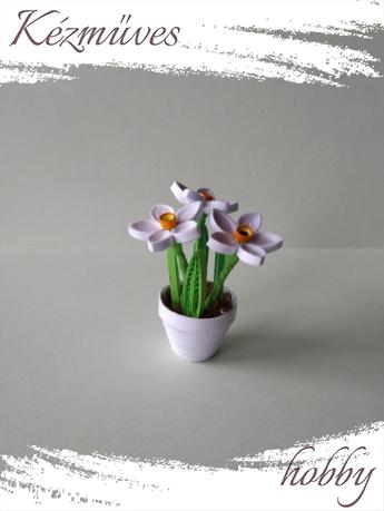 Quilling ajándék - Cserepes kisvirágok - Nárcisz kaspóban - Quilling Cserepes kisvirágok