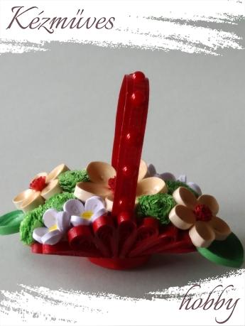 Quilling ajándék - Asztaldíszek - Piros Florentin kosár - Quilling Asztaldísz