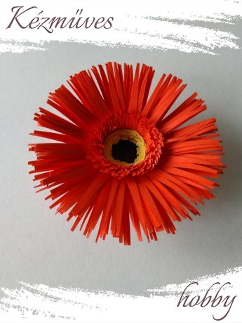 Quilling ajándék - Virágfejek - Piros Gerbera - virágfejek