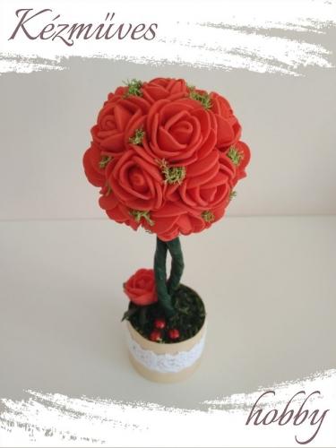 Quilling ajándék - Virágdoboz - Piros rózsafa - Virágdoboz