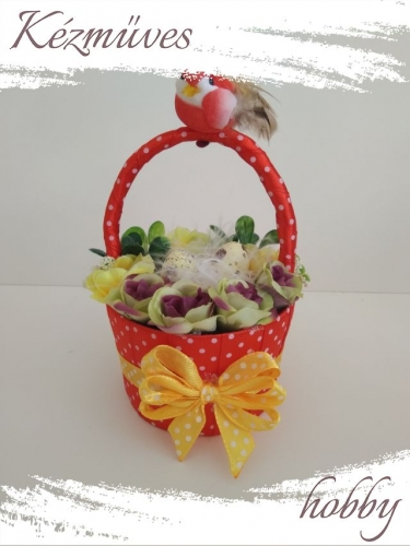 Quilling ajándék - Húsvét - Pöttyös kosár - Húsvét