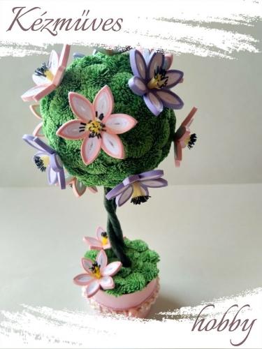 Quilling ajándék - Cserepes kisvirágok - Rózsaszín-lila virágzó fa - Quilling Cserepes kisvirágok