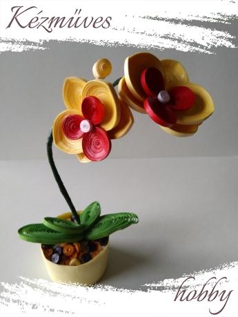 Quilling ajándék - Cserepes kisvirágok - Sárga orchidea - Quilling Cserepes kisvirág