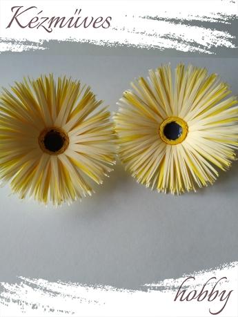 Quilling ajándék - Virágfejek - Sárga Gerbera - virágfejek