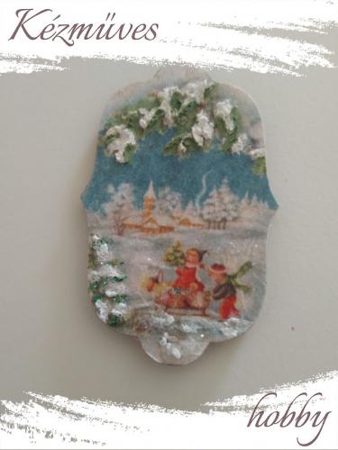 Quilling ajándék - Karácsony, Tél - Hűtőmágnes - Szánkózó gyerekek - Karácsony, Tél hűtőmágnes