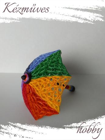 Quilling ajándék - Asztaldíszek - Színes esernyő - Quilling Asztaldísz