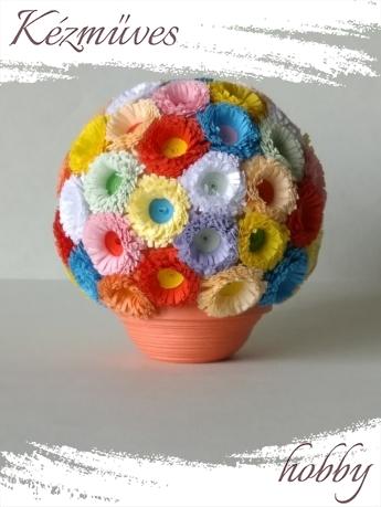 Quilling ajándék - Cserepes kisvirágok - Színes gömb - Quilling Cserepes kisvirág