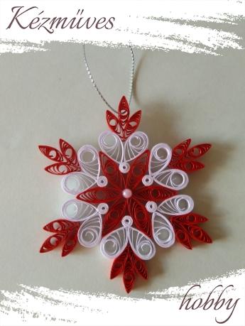 Quilling ajándék - Karácsony - Színes hópehely - karácsonyfa dísz