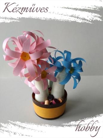Quilling ajándék - Cserepes kisvirágok - Színes tavasz - Quilling Cserepes kisvirág