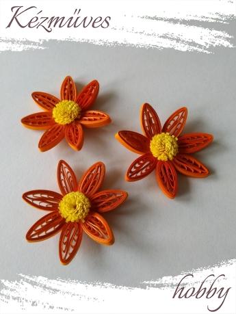 Quilling ajándék - Virágfejek - Tégla-sárga - virágfejek