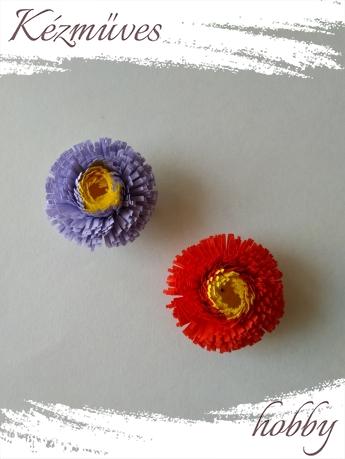 Quilling ajándék - Virágfejek - Telt-sárga közepű - virágfejek