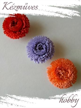 Quilling ajándék - Virágfejek - Telt szirmú - virágfejek